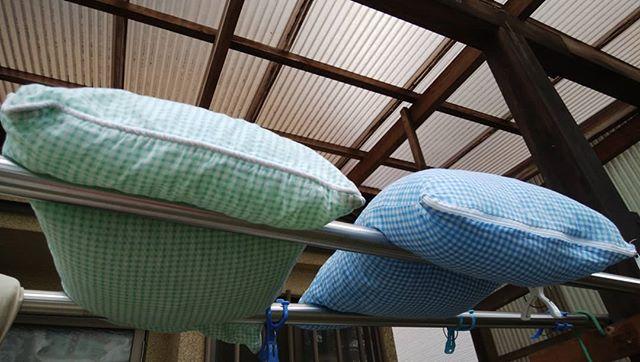 今朝は枕を洗いましたお天気を期待しているが……曇り気味……晴れてくれ~***#福山神辺#枕#洗濯#晴れて~