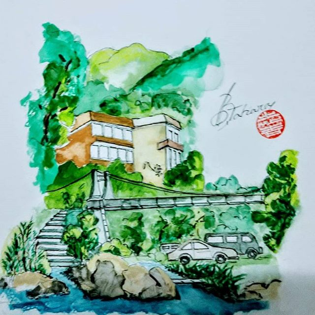 父ちゃんは最近スケッチに凝り始めましたこれはこの間行った湯原温泉で〜す#福山神辺 #湯原温泉#スケッチ#父ちゃん
