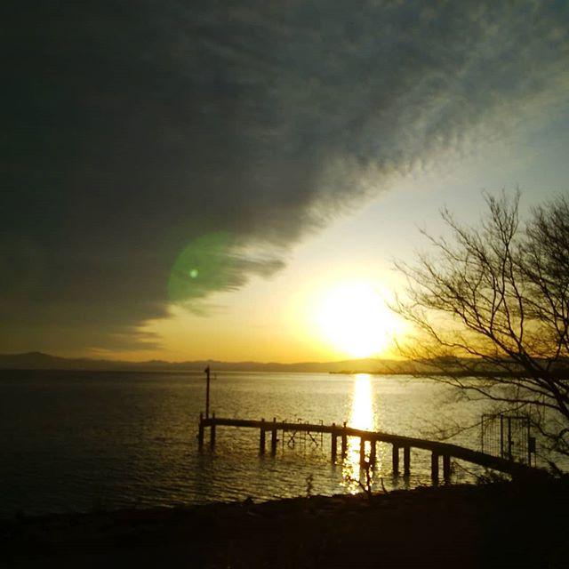 琵琶湖の夕日何にも言えねぇ#福山神辺
