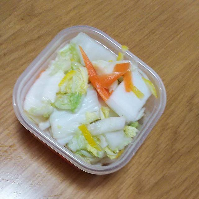 昨晩の白菜君今朝はええお味に…漬かってました塩味控え目旦那さんは一パックペロリンコ️ 嬉しいねサラダ感覚#福山神辺#白菜の一夜漬け#サラダ感覚